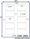 2 3/4 x 1 13/16 Rectangle White PHOTO Gloss Inkjet Label Sheet<BR><B>USUALLY SHIPS SAME DAY</B>