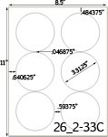 3 1/3 Diameter Round Clear Gloss Polyester Inkjet Label Sheet<BR><B>USUALLY SHIPS SAME DAY</B>