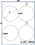 4 Diameter Round Circle<BR>Brown Kraft Printed Label Sheet<BR><B>USUALLY SHIPS IN 2-3 BUSINESS DAYS</B>