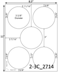 3 5/8 Diameter Round Circle<BR>Light Brown Kraft Printed Label Sheet<BR><B>USUALLY SHIPS IN 2-3 BUSINESS DAYS</B>