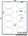 3 1/4 x 2 Oval<BR>All Temperature White Printed Label Sheet<BR><B>USUALLY SHIPS IN 2-3 BUSINESS DAYS</B>