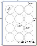 2 1/4 Diameter Round Circle<BR>Brown Kraft Printed Label Sheet<BR><B>USUALLY SHIPS IN 2-3 BUSINESS DAYS</B>