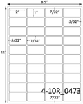 2 x 1 Rectangle w/ Vert & Horz Gutters<BR>Brown Kraft Printed Label Sheet<BR><B>USUALLY SHIPS IN 2-3 BUSINESS DAYS</B>