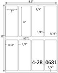 2 x 5 Rectangle <BR>Brown Kraft Printed Label Sheet<BR><B>USUALLY SHIPS IN 2-3 BUSINESS DAYS</B>