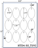 1.75 x 2.75 Oval w/ pre-drilled 3/16 hole<BR>White Custom Printed Micro-nikked Hang Tag Sheet<BR><B>USUALLY SHIPS IN 2-3 BUSINESS DAYS</B>