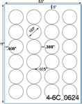 1 2/3 Diameter Pastel Label Sheet<BR><B>USUALLY SHIPS SAME DAY</B>