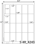 1 1/2 x 2 1/2 Rectangle<BR>Natural Ivory Printed Label Sheet<BR><B>USUALLY SHIPS IN 2-3 BUSINESS DAYS</B>