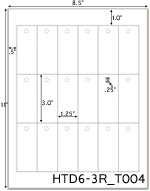 1.25 x 3 Rectangle w/ pre-drilled 1/4 hole<BR>White High Gloss Custom Printed Perforated Hang Tag Sheet<BR><B>USUALLY SHIPS IN 2-3 BUSINESS DAYS</B>