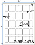 .9 x 1 5/8 Rectangle <BR>Natural Ivory Printed Label Sheet<BR><B>USUALLY SHIPS IN 2-3 BUSINESS DAYS</B>