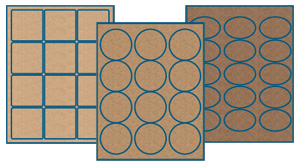 brown kraft labels sheets in three shades: light brown kraft label sheets, standard brown kraft label sheets and ultra brown kraft label sheets