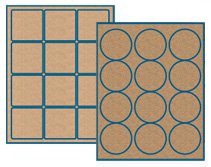 Light Brown Kraft or Standard Brown Kraft Label Sheets
