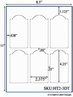 2.375 x 4.25 Dome Top  Rectangle Hang Tag Sheet (die-cut white cardstock) <BR><B>USUALLY SHIPS SAME DAY</B>