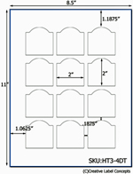 2 x 2 Dome Top Rectangle Hang Tag Sheet (die-cut white cardstock) <BR><B>USUALLY SHIPS SAME DAY</B>