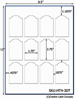 1.75 x 2.75 Dome Top  Rectangle Hang Tag Sheet (die-cut white cardstock) <BR><B>USUALLY SHIPS SAME DAY</B>