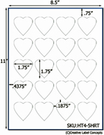 1.75 x 1.75 Heart Shaped Hang Tag Sheet (die-cut white cardstock) <BR><B>USUALLY SHIPS SAME DAY</B>