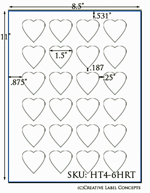 1.5 x 1.5 Heart Shaped Hang Tag Sheet (die-cut white cardstock) <BR><B>USUALLY SHIPS SAME DAY</B>