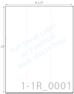 8 1/2 x 11 Rectangle 100% RECYCLED White Label Sheet w/ 2 vert back slits (crack back)<BR><B>USUALLY SHIPS SAME DAY</B>