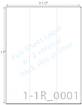 8 1/2 x 11 Rectangle White High Gloss Laser Label Sheet w/ 2 vert back slits (crack back)<BR><B>USUALLY SHIPS SAME DAY</B>