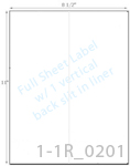 8 1/2 x 11 Rectangle White High Gloss Laser Label Sheet w/ 1 vert back slit<BR><B>USUALLY SHIPS SAME DAY</B>