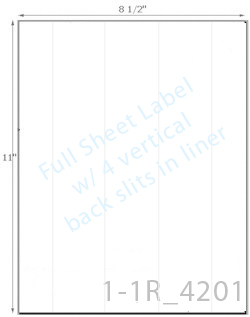 8 1/2 x 11 Rectangle  White Label Sheet w/ 4 vert back slits<BR><B>USUALLY SHIPS SAME DAY</B>