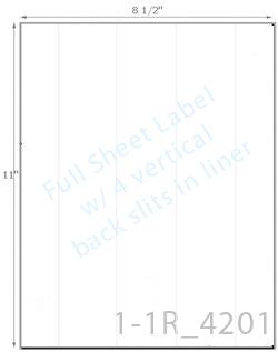8 1/2 x 11 Rectangle <B>PREMIUM</B> Water-Resistant White Inkjet Label Sheet w/ 4 vert back slits<BR><B>USUALLY SHIPS SAME DAY</B>