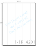 8 1/2 x 11 Rectangle White High Gloss Laser Label Sheet w/ 4 vert back slits<BR><B>USUALLY SHIPS SAME DAY</B>