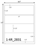 8 x 2 1/2 Rectangle Water-Resistant White Polyester Laser Label Sheet<BR><B>USUALLY SHIPS SAME DAY</B>