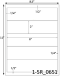 8 x 2 Rectangle Clear Gloss Polyester Laser Label Sheet<BR><B>USUALLY SHIPS SAME DAY</B>