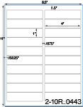 4 x 1 Rectangle Removable White Label Sheet<BR><B>USUALLY SHIPS SAME DAY</B>