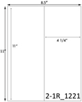 4 1/4 x 11 Rectangle White Label Sheet<BR><B>USUALLY SHIPS SAME DAY</B>