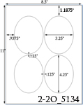 3 1/4 x 4 1/4  Oval White Label Sheet<BR><B>USUALLY SHIPS SAME DAY</B>