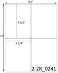 4 1/4 x 5 1/2 Rectangle White Label Sheet<BR><B>USUALLY SHIPS SAME DAY</B>