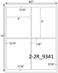 4 x 5 Rectangle w/sq corners & gutters White Label Sheet<BR><B>USUALLY SHIPS SAME DAY</B>
