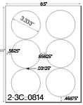 3 1/3 Diameter Round <B>PREMIUM</B> Water-Resistant White Inkjet Label Sheet<BR><B>USUALLY SHIPS SAME DAY</B>