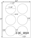 3 1/8 Diameter Round White High Gloss Laser Label Sheet<BR><B>USUALLY SHIPS SAME DAY</B>