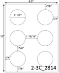 2 1/2 Diameter Round White Label Sheet; 6 up<BR><B>USUALLY SHIPS SAME DAY</B>