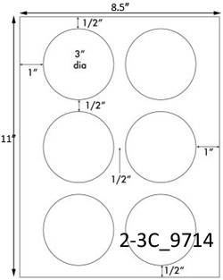 1 inch diameter circle template - white inket and laser round labels