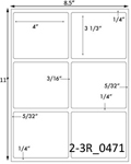 4 x 3 1/3 Rectangle w/ gutters White Label Sheet<BR><B>USUALLY SHIPS SAME DAY</B>