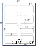 3 1/2 x 2 1/8 Rectangle Water-Resistant White Polyester Laser Label Sheet<BR><B>USUALLY SHIPS SAME DAY</B>