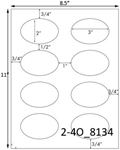 3 x 2 Oval White Label Sheet<BR><B>USUALLY SHIPS SAME DAY</B>