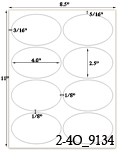 4 x 2 1/2 Oval White Label Sheet<BR><B>USUALLY SHIPS SAME DAY</B>