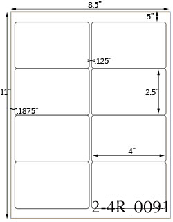 4 x 2 1/2 Rectangle White Label Sheet<BR><B>USUALLY SHIPS SAME DAY</B>