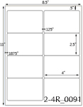4 x 2 1/2 Rectangle Natural Ivory Label Sheet<BR><B>USUALLY SHIPS SAME DAY</B>