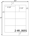 3 1/2 x 2 1/4 Rectangle White Label Sheet<BR><B>USUALLY SHIPS SAME DAY</B>