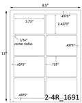 3 3/4 x 2 7/16 Rectangle White Label Sheet<BR><B>USUALLY SHIPS SAME DAY</B>