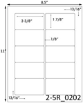 3 3/8 x 1 7/8 Rectangle White High Gloss Laser Label Sheet<BR><B>USUALLY SHIPS SAME DAY</B>