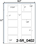 2 3/4 x 2 Rectangle White Label Sheet<BR><B>USUALLY SHIPS SAME DAY</B>