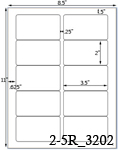 3 1/2 x 2 Rectangle  White Label Sheet<BR><B>USUALLY SHIPS SAME DAY</B>