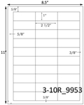 2 1/2 x 1 Rectangle White Label Sheet<BR><B>USUALLY SHIPS SAME DAY</B>