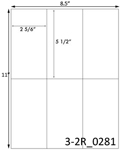 2 5/6 x 5 1/2 Rectangle  White Label Sheet<BR><B>USUALLY SHIPS SAME DAY</B>